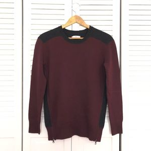 Vince Maroon Colorblock Wool Cashmere Zip Sweater